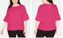 Bar III Plus Size Ruffle-Sleeve Blouse, Created for Macy's