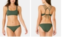 California Waves Juniors' Solid Ribbed Strappy Back Bralette Top, Available in D/DD & Solid Ribbed Hipster Bottoms, Created for Macy's