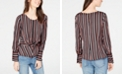 INC International Concepts I.N.C. Petite Striped Twist-Front Top, Created for Macy's