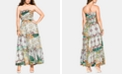 City Chic Trendy Plus Size Bilbao Printed Smocked Maxi Dress