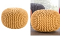 Jaipur Living Visby Yellow Textured Round Pouf