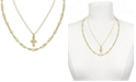 """Argento Vivo Cross Double Layered Pendant Necklace in Gold-Plated Sterling Silver, 12"""" + 3"""" extender"""