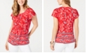 Style & Co Petite Floral-Print Pleat-Neck Top, Created for Macy's
