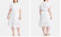 Lauren Ralph Lauren Plus Size Belted Cotton Dress, Created for Macy's