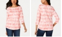 Charter Club Cotton Printed Striped Top, Created for Macy's