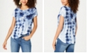 Style & Co Floral-Print Tie-Dyed Top, Created for Macy's