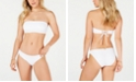 Raisins Juniors' West Coast Solids Smocked Bae Bandeau Top & West Coast Solids Textured-Front Bikini Bottoms