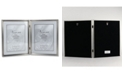 """Lawrence Frames Antique Pewter Hinged Double Picture Frame - Bead Border Design - 8"""" x 10"""""""