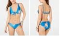 Roxy Juniors' Printed Tie-Front Bikini Top & Printed Riding Moon Strappy-Side Bikini Bottoms