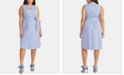 RACHEL Rachel Roy Trendy Plus Size  Cotton Striped Seersucker Dress