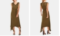 Vince Camuto Drawstring-Shoulder Handkerchief-Hem Maxi Dress
