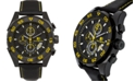 Buech & Boilat Torrent Men's Chronograph Watch Black Leather Strap, Black and Yellow Dial, 44mm