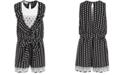 Bonnie Jean Little Girls Dot-Print Crepe & Lace Romper
