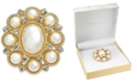 Charter Club Gold-Tone Crystal & Imitation Pearl Pin, Created for Macy's