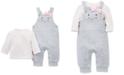 Little Me Baby Girls 2-Pc. Dot-Print T-Shirt & Kitty Overalls Set