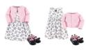 Hudson Baby Dress, Cardigan, Shoe Set, 3 Piece, Toile, 6-9 Months