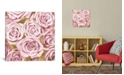 """iCanvas Pink Roses On Gold by Kate Bennett Wrapped Canvas Print - 26"""" x 26"""""""