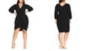 City Chic Trendy Plus Size Ruched Dot-Print Dress