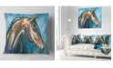 "Design Art Designart Brown Horse On Blue Watercolor Abstract Throw Pillow - 16"" X 16"""