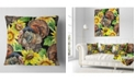 "Design Art Designart Turkey Bird With Sunflowers Floral Throw Pillow - 18"" X 18"""