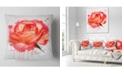 "Design Art Designart Red Rose Hand Drawn With Splashes Floral Throw Pillow - 16"" X 16"""