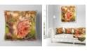 "Design Art Designart Full Bloom Orange Rose Watercolor Floral Throw Pillow - 16"" X 16"""