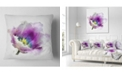 "Design Art Designart Purple Watercolor Tulip Flower Floral Throw Pillow - 16"" X 16"""