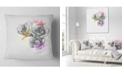"Design Art Designart Black White Watercolor Rose Sketch Floral Throw Pillow - 16"" X 16"""