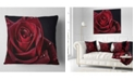 "Design Art Designart Red Rose With Raindrops On Black Flowers Throw Pillowwork - 18"" X 18"""