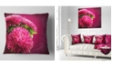 "Design Art Designart Pink Flowers Of Asters On Red Flowers Throw Pillowwork - 16"" X 16"""