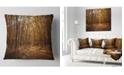 """Design Art Designart Sunset In Yellow Autumn Forest Modern Forest Throw Pillow - 18"""" X 18"""""""