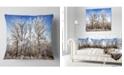 """Design Art Designart Beautiful Winter Evening View Landscape Printed Throw Pillow - 18"""" X 18"""""""