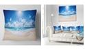 "Design Art Designart Beautiful Tropical Beach Panorama Modern Seashore Throw Pillow - 16"" X 16"""