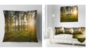 "Design Art Designart Bright Sunlight In Dense Forest Landscape Printed Throw Pillow - 18"" X 18"""