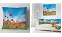 "Design Art Designart Red Poppy Garden Under Clear Sky Floral Throw Pillow - 16"" X 16"""