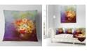 "Design Art Designart Bouquet Of Small Flowers Watercolor Floral Throw Pillow - 18"" X 18"""
