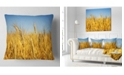 "Design Art Designart Bright Golden Wheat Field Landscape Printed Throw Pillow - 16"" X 16"""