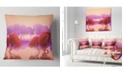 "Design Art Designart Red And Purple Japanese Gardens Landscape Printed Throw Pillow - 18"" X 18"""