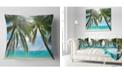 "Design Art Designart Palm Hanging Over Sandy White Beach Seashore Photo Throw Pillow - 18"" X 18"""