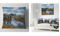 "Design Art Designart Lake With Pine Trees Reflecting Sky Landscape Printed Throw Pillow - 16"" X 16"""