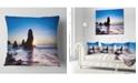 "Design Art Designart Sunset At Rodeo Beach Panorama Seashore Throw Pillow - 18"" X 18"""