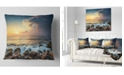 "Design Art Designart Sunrise And Shining Waves In Sea Seashore Throw Pillow - 16"" X 16"""