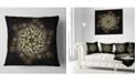 """Design Art Designart Black Yellow Fractal Flower Pattern Abstract Throw Pillow - 18"""" X 18"""""""