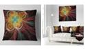 "Design Art Designart Colorful Red Fractal Flower Abstract Throw Pillow - 16"" X 16"""