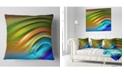 "Design Art Designart Colorful Fractal Water Ripples Abstract Throw Pillow - 18"" X 18"""