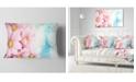 """Design Art Designart Pink Flowers Bouquet On Blue Floral Throw Pillow - 12"""" X 20"""""""