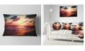 "Design Art Designart Sea Sunset Landscape View Seashore Throw Pillow - 12"" X 20"""