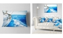 "Design Art Designart White Sailing Yacht In Blue Sea Seashore Throw Pillow - 12"" X 20"""