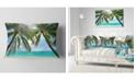 "Design Art Designart Palm Hanging Over Sandy White Beach Seashore Photo Throw Pillow - 12"" X 20"""