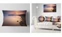 "Design Art Designart Beautiful Sunrise Over Tranquil Sea Seashore Throw Pillow - 12"" X 20"""